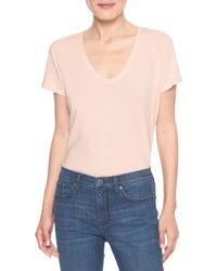 Banana Republic Factory - Pink Timeless Vee Neck T Shirt - Lyst