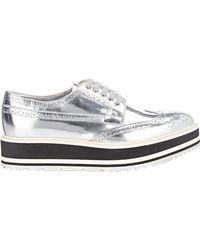 Prada   White Wingtip Brogue Platform Sneakers   Lyst