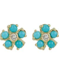 Jennifer Meyer - Blue Flower Studs - Lyst