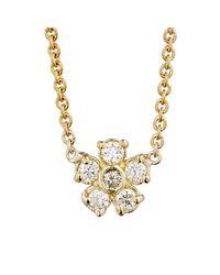 Jennifer Meyer - Metallic White Diamond Flower Charm Necklace - Lyst