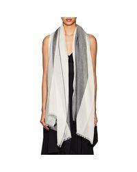 Barneys New York - Gray Striped Cashmere Gauze Scarf - Lyst