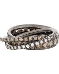 Roberto Marroni | Multicolor Brown Diamond, White Diamond & Oxidized White Gold Triple Ring | Lyst