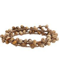 Feathered Soul - Brown Jasper Bead & Braided Silk Wrap Bracelet - Lyst