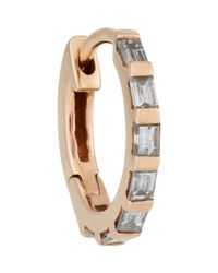 Stone | Natural Baguette Diamond & Pink Gold Hoop Earring | Lyst