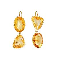 Renee Lewis | Yellow Mismatched Citrine Double-drop Earrings | Lyst