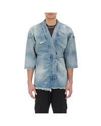 NSF - Blue Distressed Denim Jacket for Men - Lyst