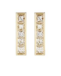 Jennifer Meyer - Metallic White Diamond Vertical-bar Stud Earrings - Lyst