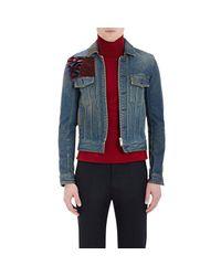 Maison Margiela - Blue Flocked Patchwork Denim Jacket for Men - Lyst