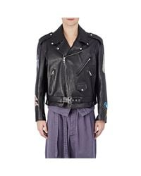 Loewe - Black Men's Graphic-painted Moto Jacket for Men - Lyst