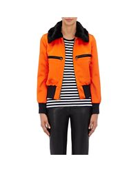 Harvey Faircloth - Orange Faux-fur-trimmed Bomber Jacket - Lyst