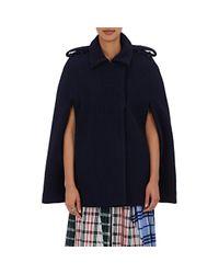 Rhié - Blue Bouclé Trench-coat Cape - Lyst