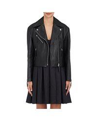 Calvin Klein - Black Belted Lambskin Moto Jacket - Lyst
