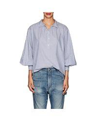 Nili Lotan - Blue Claira Striped Cotton Poplin Shirt - Lyst