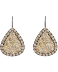 Roberto Marroni - Metallic Yellow Diamond, Brown Diamond & Oxidized Gold Teardrop Earrings - Lyst