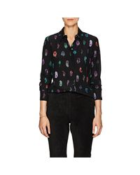 Altuzarra - Black Chika Feather-print Silk Blouse - Lyst