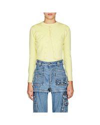 Balenciaga - Yellow Logo Wool-blend Jacquard Crop Cardigan - Lyst