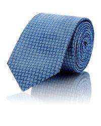 Barneys New York - Blue Micro-zigzag Silk Jacquard Necktie for Men - Lyst