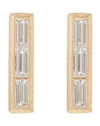 Monique Péan - Multicolor Baguette Diamond & Gold Bar Studs Size Os - Lyst
