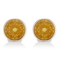 Barneys New York - Yellow Floral Cufflinks for Men - Lyst