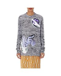 Proenza Schouler - Blue Cotton Striped & Graphic Long-sleeve T - Lyst