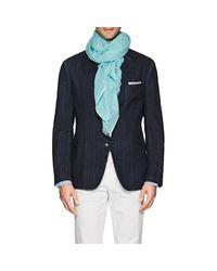 Barneys New York - Blue Polka Dot Linen-cotton Scarf for Men - Lyst
