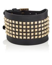 Valentino - Metallic Rockstud Leather Cuff Bracelet - Lyst