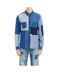 FDMTL - Blue Patchwork Shirt for Men - Lyst