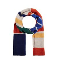 Drake's - Blue Striped Wool Scarf - Lyst