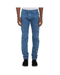 Balmain - Blue Distressed Biker Jeans for Men - Lyst