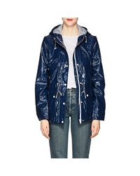 Barneys New York - Blue Shiny Hooded Raincoat - Lyst