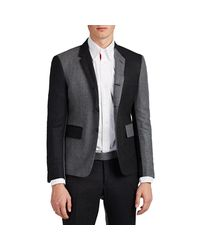 Thom Browne - Gray High-armhole Two-tone Wool Three-button Suit for Men - Lyst