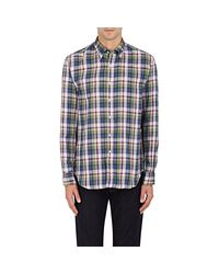 Barneys New York - Blue Plaid Double-faced Cotton Gauze Shirt for Men - Lyst