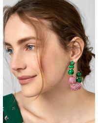 BaubleBar - Green Beaded Hoop Earrings - Lyst