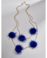 BaubleBar - Blue Loulou Fur Pom Pom Necklace - Lyst