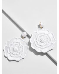 BaubleBar - White Melvina Flower Drop Earrings - Lyst