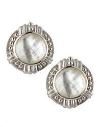 Judith Ripka | White Vintage Mother-Of-Pearl Doublet Button Earrings | Lyst