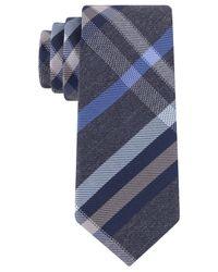 Kenneth Cole Reaction | Blue Port Plaid Slim Tie for Men | Lyst