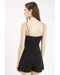 TOPSHOP - Black Sweetheart Scallop Edge Playsuit By Rare - Lyst