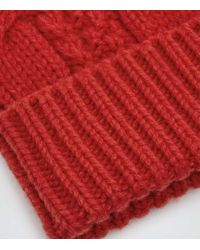 Reiss | Red Nake Cable Knit Beanie Hat for Men | Lyst