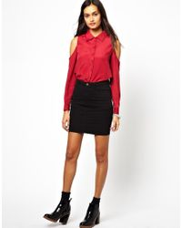 Glamorous - Red Shirt with Cold Shoulder - Lyst