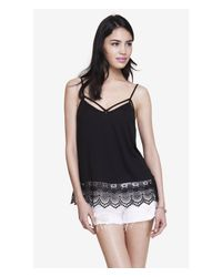 Express - Black Crochet Trimmed Trapeze Cami - Lyst