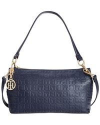 Tommy Hilfiger | Blue Sally Debossed Nappa Leather Mini Convertible Shoulder Bag | Lyst