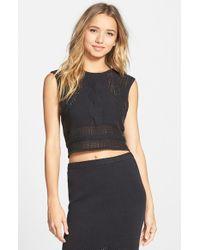 RVCA - Black 'number One' Cable Knit Sleeveless Sweater - Lyst