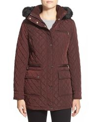 Calvin Klein - Red Faux Fur Trim Hood Quilted Barn Jacket - Lyst
