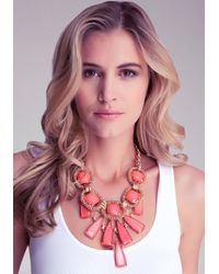 Bebe - Red Oversized Stone Necklace - Lyst