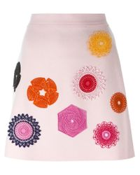 MSGM | Pink Embroidered Mini Skirt | Lyst