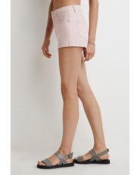 Forever 21 - Pink Cuffed Denim Shorts - Lyst