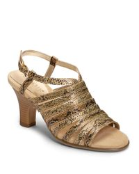 Aerosoles | Metallic Energinic Snake-Embossed Faux Leather Sandals | Lyst