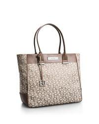 Calvin Klein - Natural White Label Logo Jacquard Large Shopper Tote - Lyst