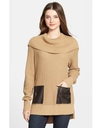 MICHAEL Michael Kors - Brown Faux Leather Pocket Cowl Neck Sweater - Lyst